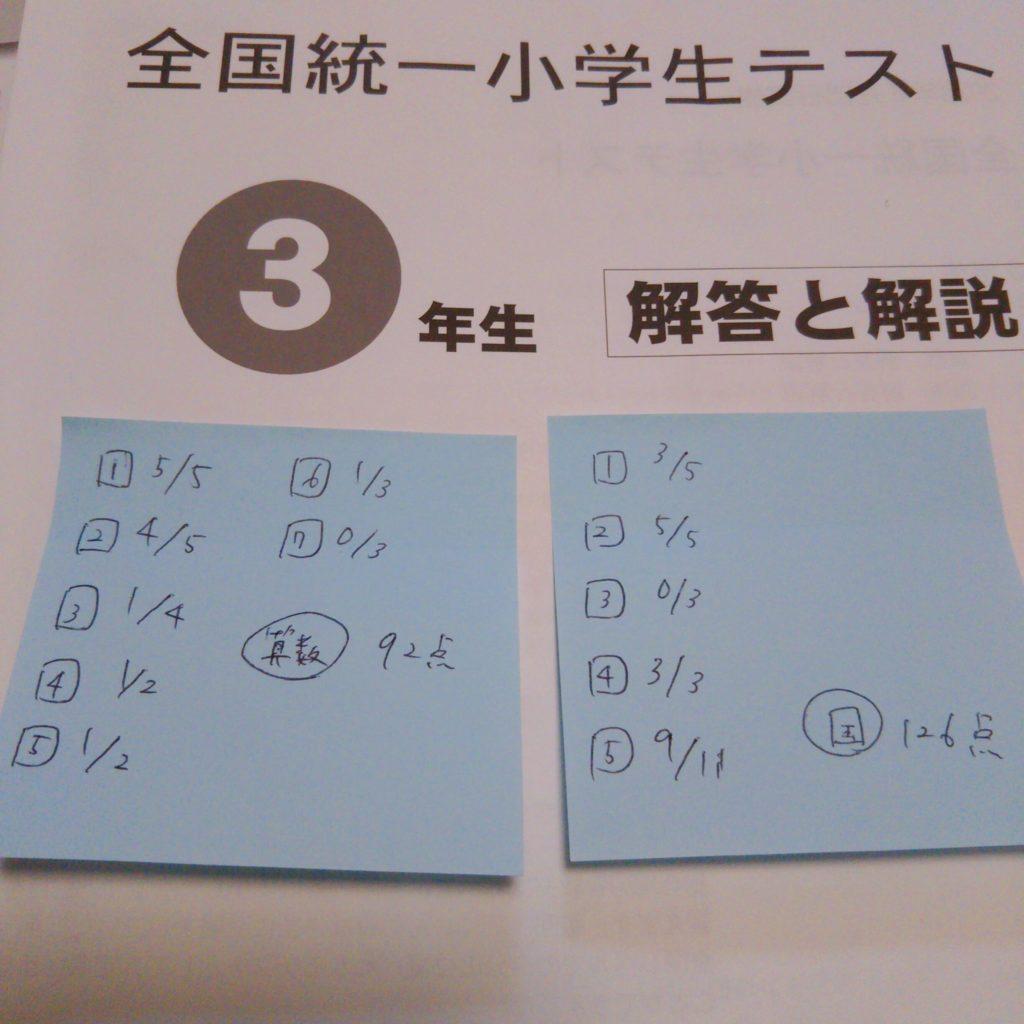全国統一小学生テスト3年生の自己採点結果